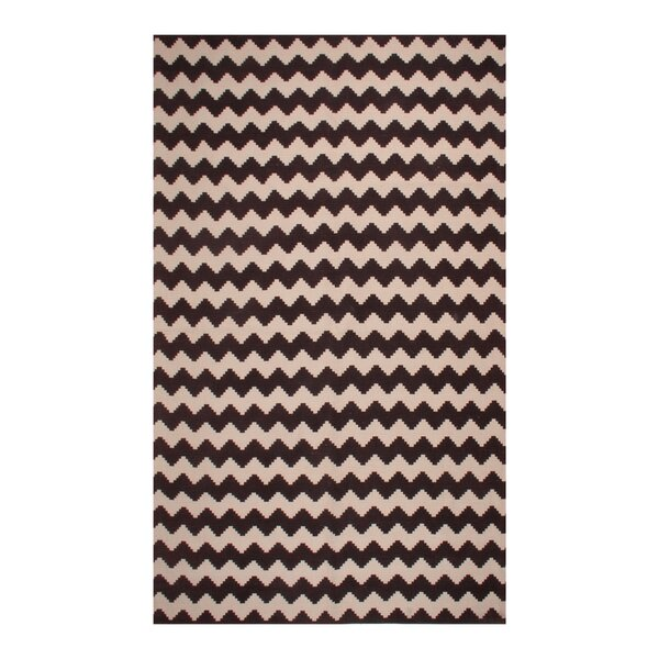 Carlos Chevron 100% Cotton Hand-Woven Chocolate Area Rug by Harriet Bee